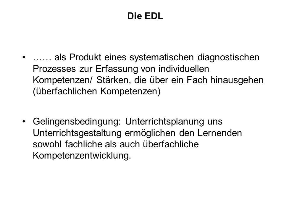 Die EDL …… als Produkt eines systematischen diagnostischen Prozesses zur Erfassung von individuellen Kompetenzen/ Stärken, die über ein Fach hinausgeh