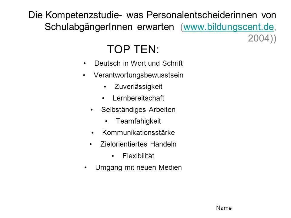 Die Kompetenzstudie- was Personalentscheiderinnen von SchulabgängerInnen erwarten (www.bildungscent.de, 2004))www.bildungscent.de TOP TEN: Deutsch in