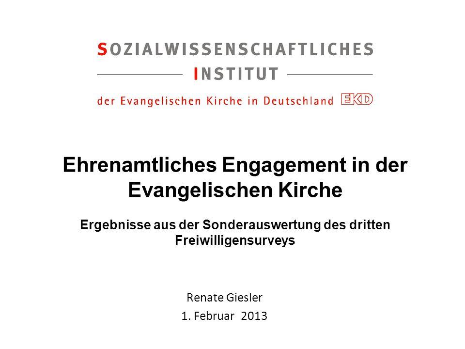 Ehrenamtliches Engagement in der Evangelischen Kirche Ergebnisse aus der Sonderauswertung des dritten Freiwilligensurveys Renate Giesler 1. Februar 20
