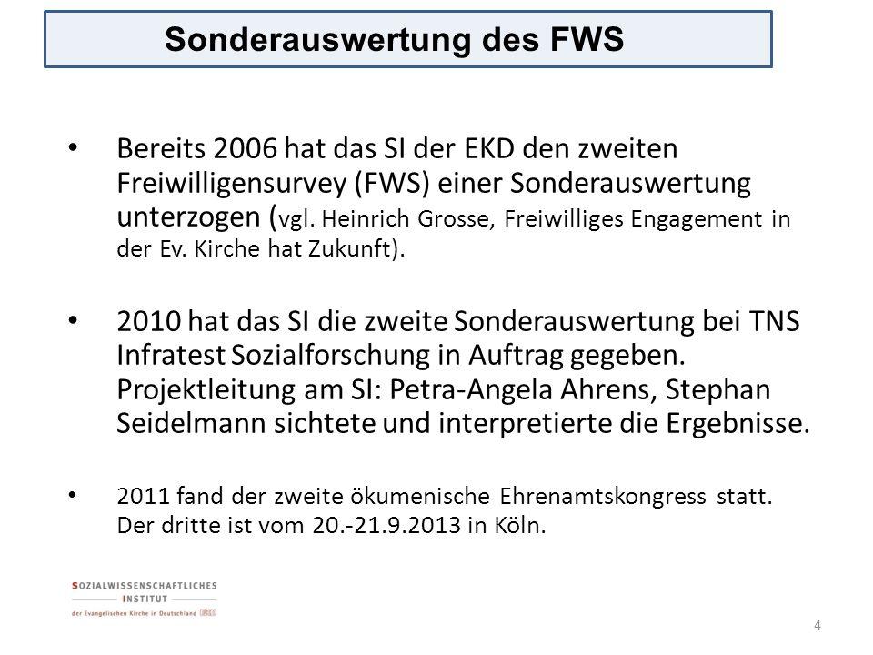Bereits 2006 hat das SI der EKD den zweiten Freiwilligensurvey (FWS) einer Sonderauswertung unterzogen ( vgl. Heinrich Grosse, Freiwilliges Engagement