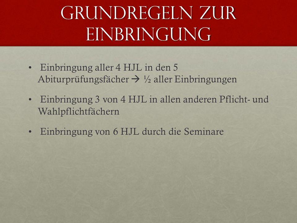 Grundregeln zur Einbringung Einbringung aller 4 HJL in den 5 Abiturprüfungsfächer ½ aller Einbringungen Einbringung aller 4 HJL in den 5 Abiturprüfung
