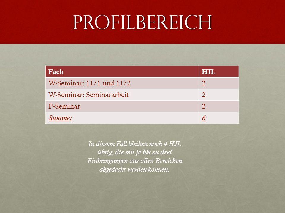 Profilbereich FachHJL W-Seminar: 11/1 und 11/22 W-Seminar: Seminararbeit2 P-Seminar2 Summe:6 In diesem Fall bleiben noch 4 HJL übrig, die mit je bis z