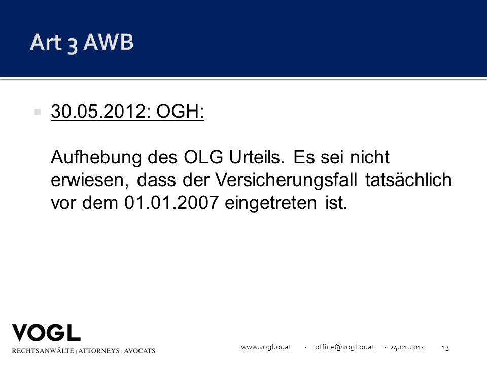 www.vogl.or.at - office@vogl.or.at - 24.01.201413 30.05.2012: OGH: Aufhebung des OLG Urteils. Es sei nicht erwiesen, dass der Versicherungsfall tatsäc