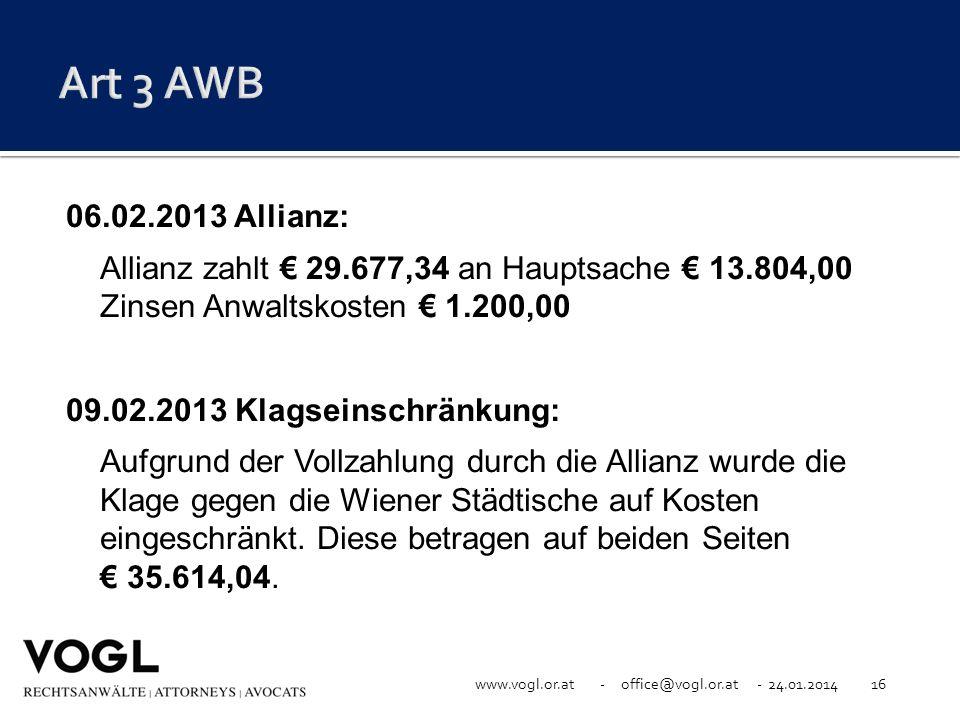 www.vogl.or.at - office@vogl.or.at - 24.01.201416 06.02.2013 Allianz: Allianz zahlt 29.677,34 an Hauptsache 13.804,00 Zinsen Anwaltskosten 1.200,00 09