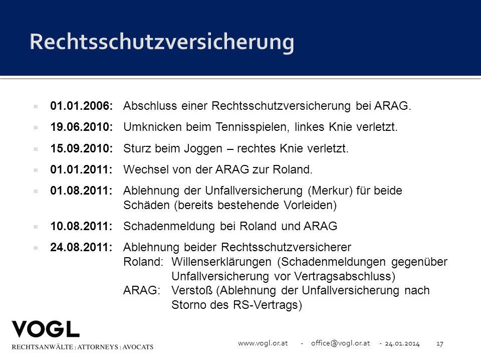 www.vogl.or.at - office@vogl.or.at - 24.01.201417 01.01.2006: Abschluss einer Rechtsschutzversicherung bei ARAG. 19.06.2010: Umknicken beim Tennisspie