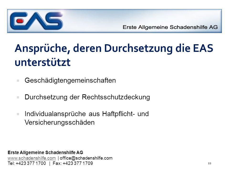 Ansprüche, deren Durchsetzung die EAS unterstützt Geschädigtengemeinschaften Durchsetzung der Rechtsschutzdeckung Individualansprüche aus Haftpflicht-