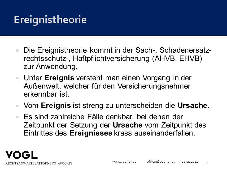 www.vogl.or.at - office@vogl.or.at - 24.01.20143 Die Ereignistheorie kommt in der Sach-, Schadenersatz- rechtsschutz-, Haftpflichtversicherung (AHVB,