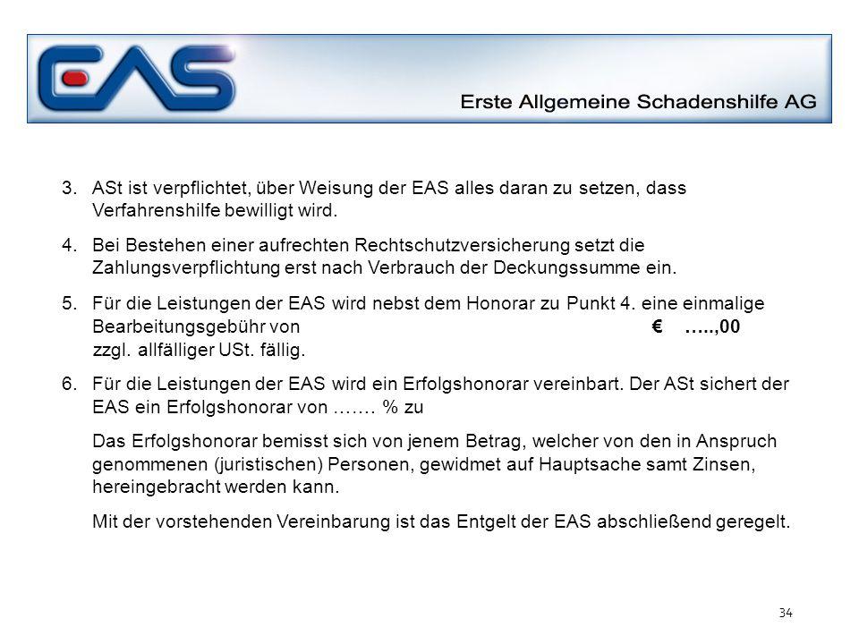 3.ASt ist verpflichtet, über Weisung der EAS alles daran zu setzen, dass Verfahrenshilfe bewilligt wird. 4. Bei Bestehen einer aufrechten Rechtschutzv