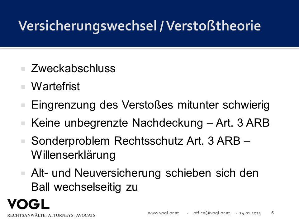 www.vogl.or.at - office@vogl.or.at - 24.01.20146 Zweckabschluss Wartefrist Eingrenzung des Verstoßes mitunter schwierig Keine unbegrenzte Nachdeckung