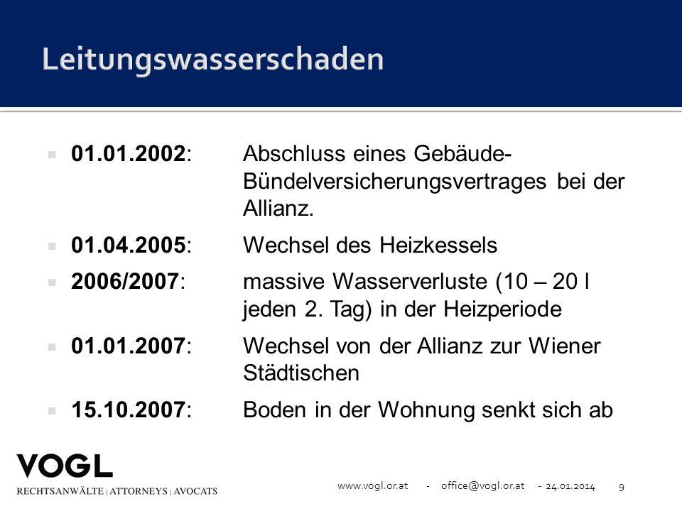 www.vogl.or.at - office@vogl.or.at - 24.01.20149 01.01.2002:Abschluss eines Gebäude- Bündelversicherungsvertrages bei der Allianz. 01.04.2005:Wechsel
