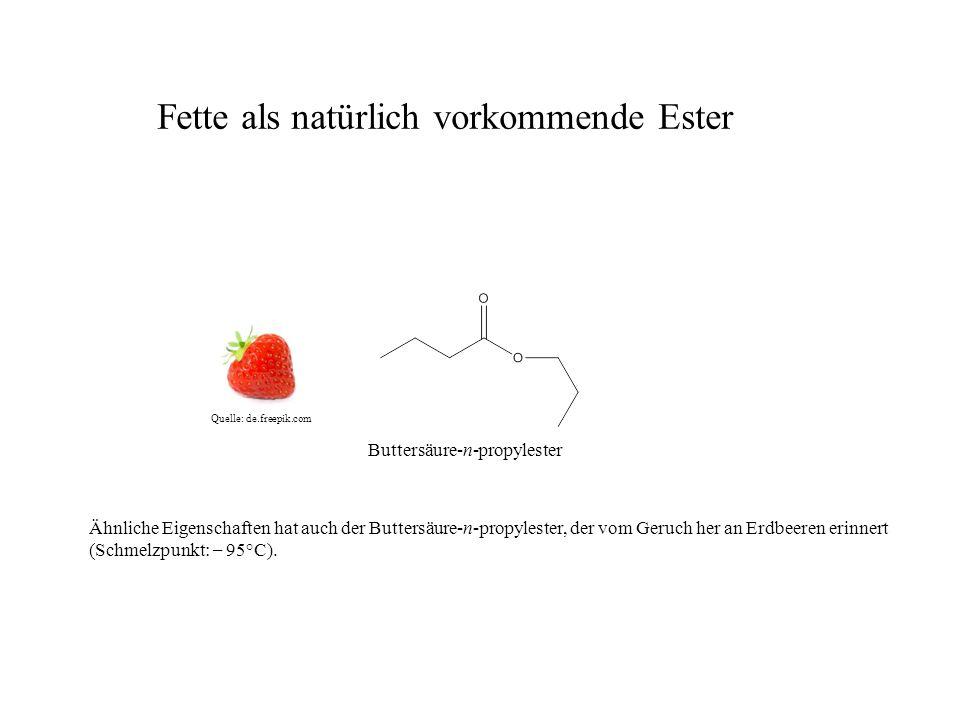 Buttersäure-n-propylester Ähnliche Eigenschaften hat auch der Buttersäure-n-propylester, der vom Geruch her an Erdbeeren erinnert (Schmelzpunkt: – 95°C).