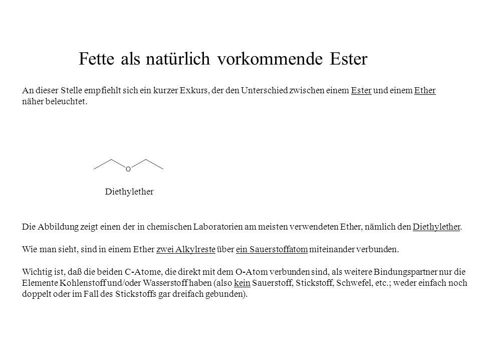 An dieser Stelle empfiehlt sich ein kurzer Exkurs, der den Unterschied zwischen einem Ester und einem Ether näher beleuchtet.