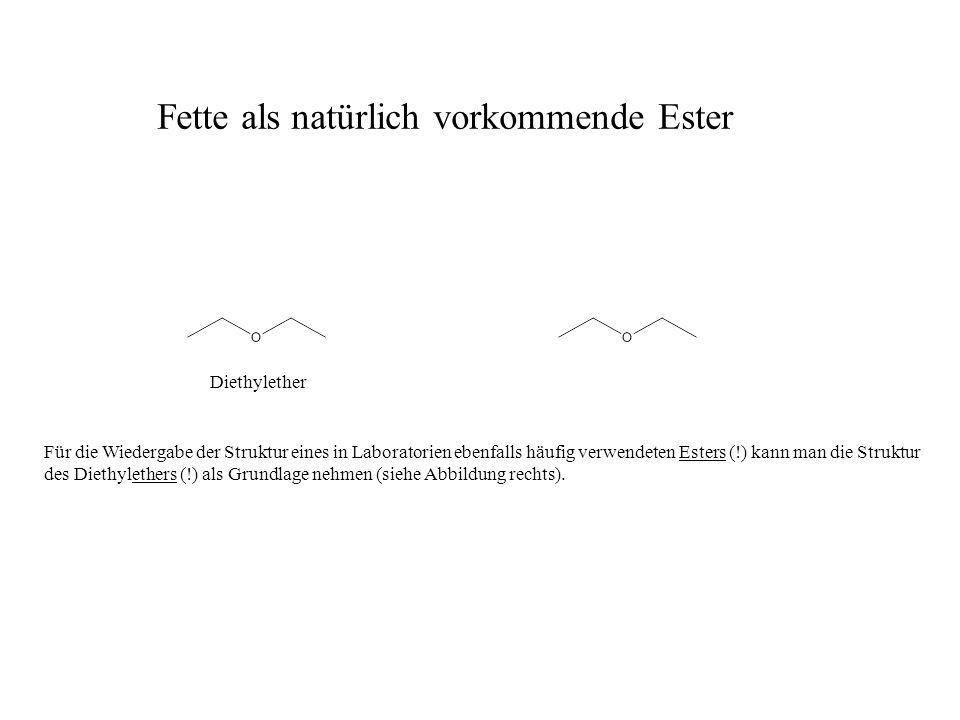 Für die Wiedergabe der Struktur eines in Laboratorien ebenfalls häufig verwendeten Esters (!) kann man die Struktur des Diethylethers (!) als Grundlage nehmen (siehe Abbildung rechts).