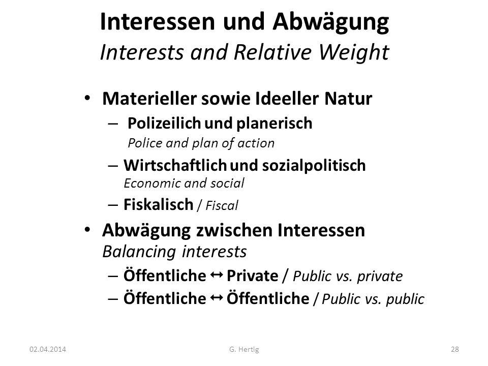 Interessen und Abwägung Interests and Relative Weight Materieller sowie Ideeller Natur – Polizeilich und planerisch Police and plan of action – Wirtsc