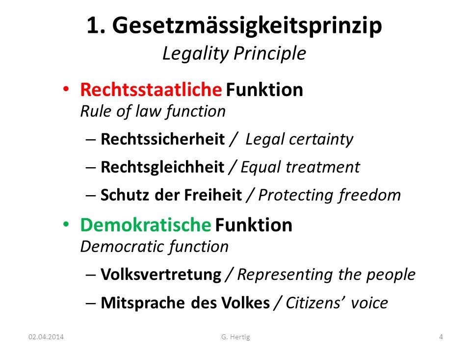 02.04.2014 1. Gesetzmässigkeitsprinzip Legality Principle Rechtsstaatliche Funktion Rule of law function – Rechtssicherheit / Legal certainty – Rechts