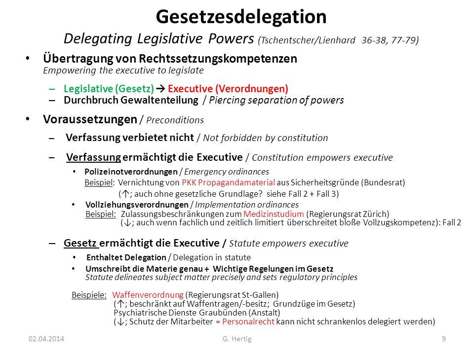 Gesetzesdelegation Delegating Legislative Powers (Tschentscher/Lienhard 36-38, 77-79) Übertragung von Rechtssetzungskompetenzen Empowering the executi