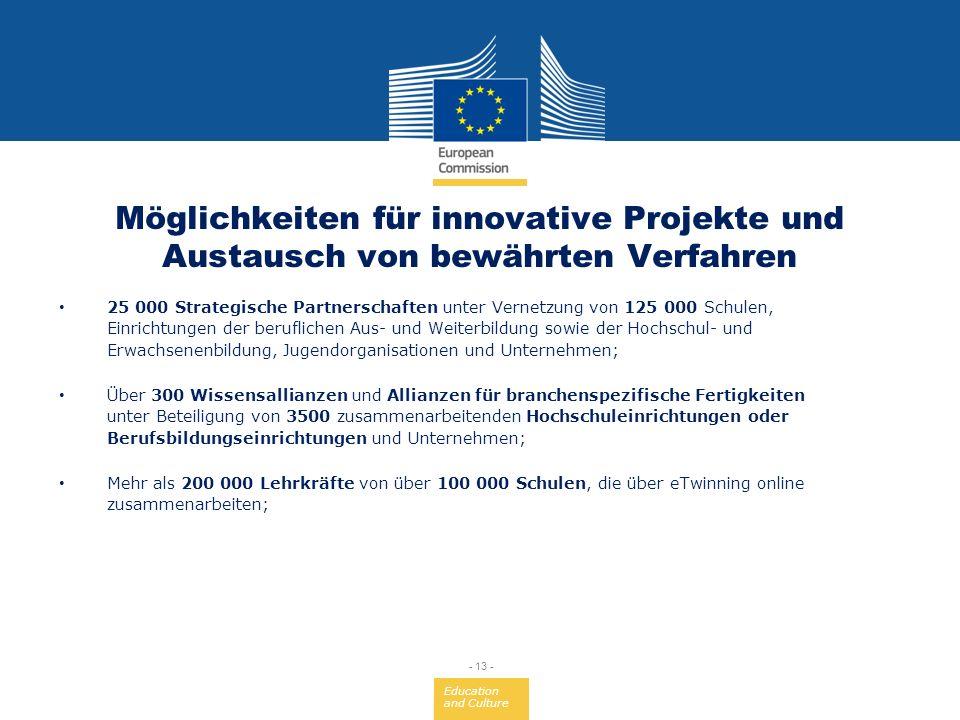 Education and Culture - 13 - Möglichkeiten für innovative Projekte und Austausch von bewährten Verfahren 25 000 Strategische Partnerschaften unter Ver
