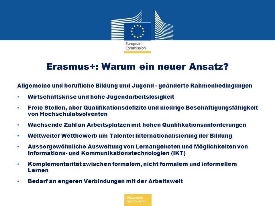 Education and Culture Erasmus+: Ein neuer Ansatz Wir brauchen Engere Verbindungen zwischen Programm- und Politikzielen Mehr Synergien und Interaktion zwischen formalem, nicht formalem und informellem Lernen Mehr bereichsübergreifende Partnerschaften mit der Arbeitswelt Stärkere Ausrichtung auf den europäischen Mehrwert Eine gestraffte und vereinfachte Programmarchitektur