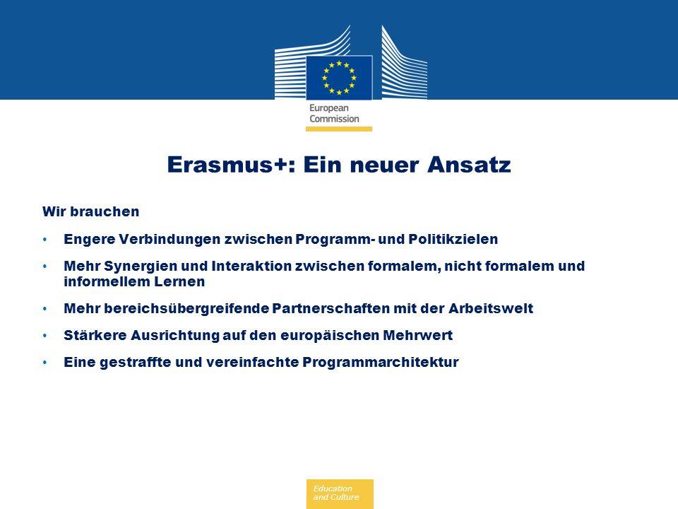 Education and Culture Erasmus+: Ein neuer Ansatz Wir brauchen Engere Verbindungen zwischen Programm- und Politikzielen Mehr Synergien und Interaktion