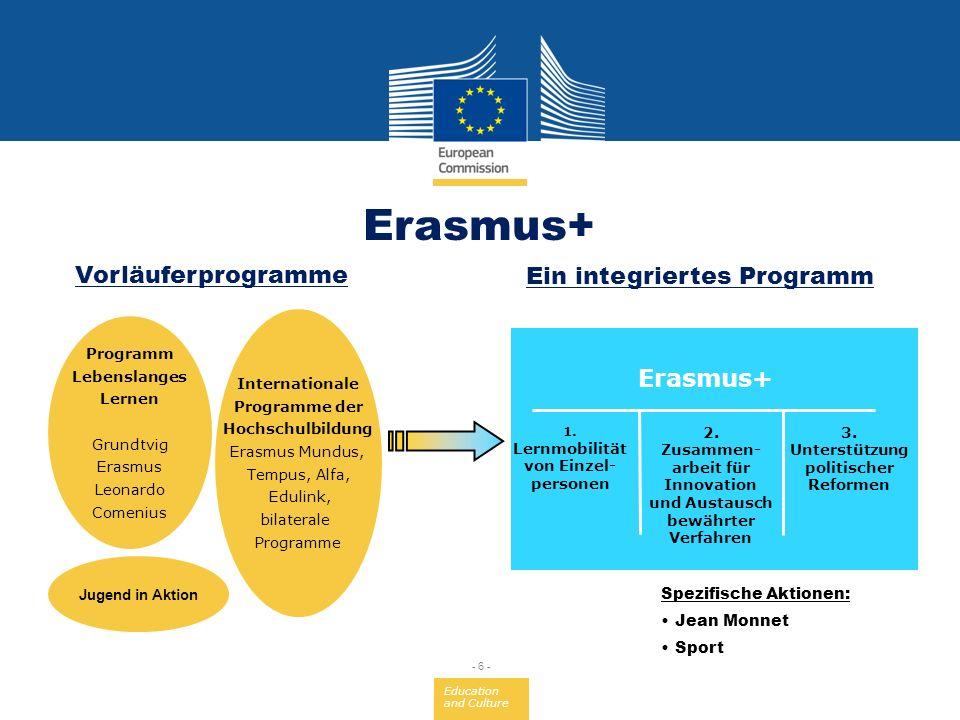 Education and Culture - 6 - Jugend in Aktion Internationale Programme der Hochschulbildung Erasmus Mundus, Tempus, Alfa, Edulink, bilaterale Programme