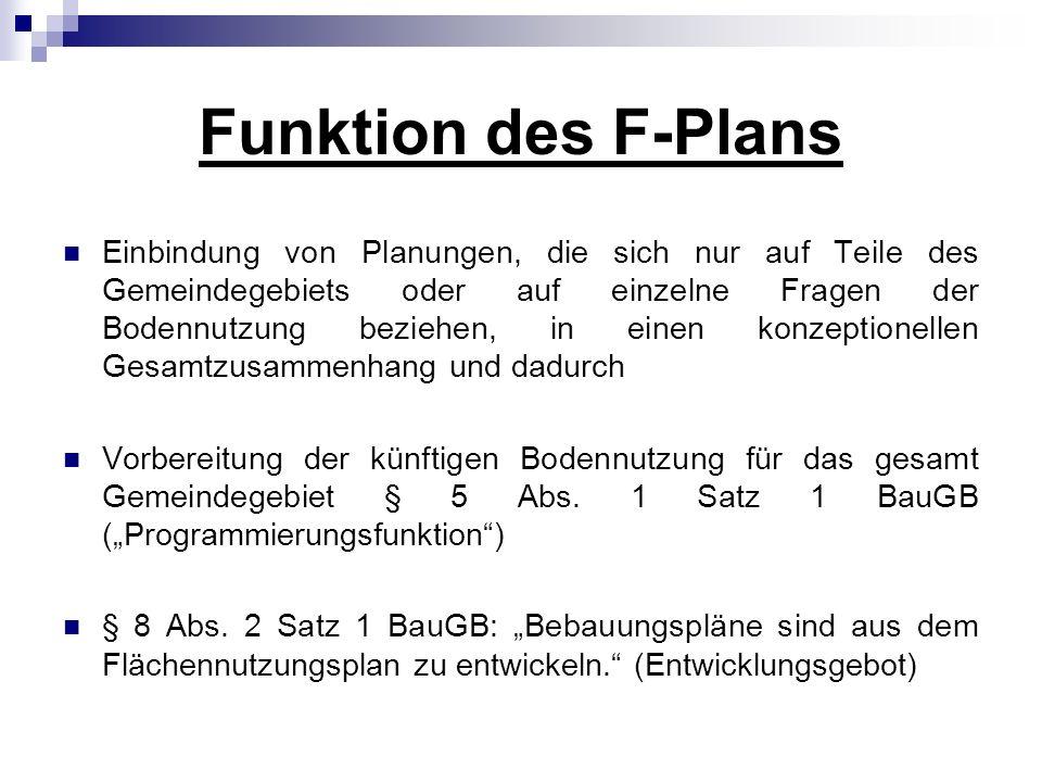 Funktion des F-Plans Einbindung von Planungen, die sich nur auf Teile des Gemeindegebiets oder auf einzelne Fragen der Bodennutzung beziehen, in einen