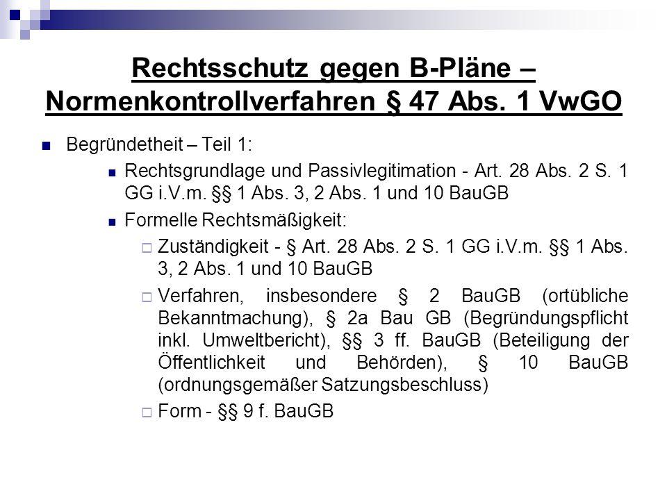 Rechtsschutz gegen B-Pläne – Normenkontrollverfahren § 47 Abs. 1 VwGO Begründetheit – Teil 1: Rechtsgrundlage und Passivlegitimation - Art. 28 Abs. 2