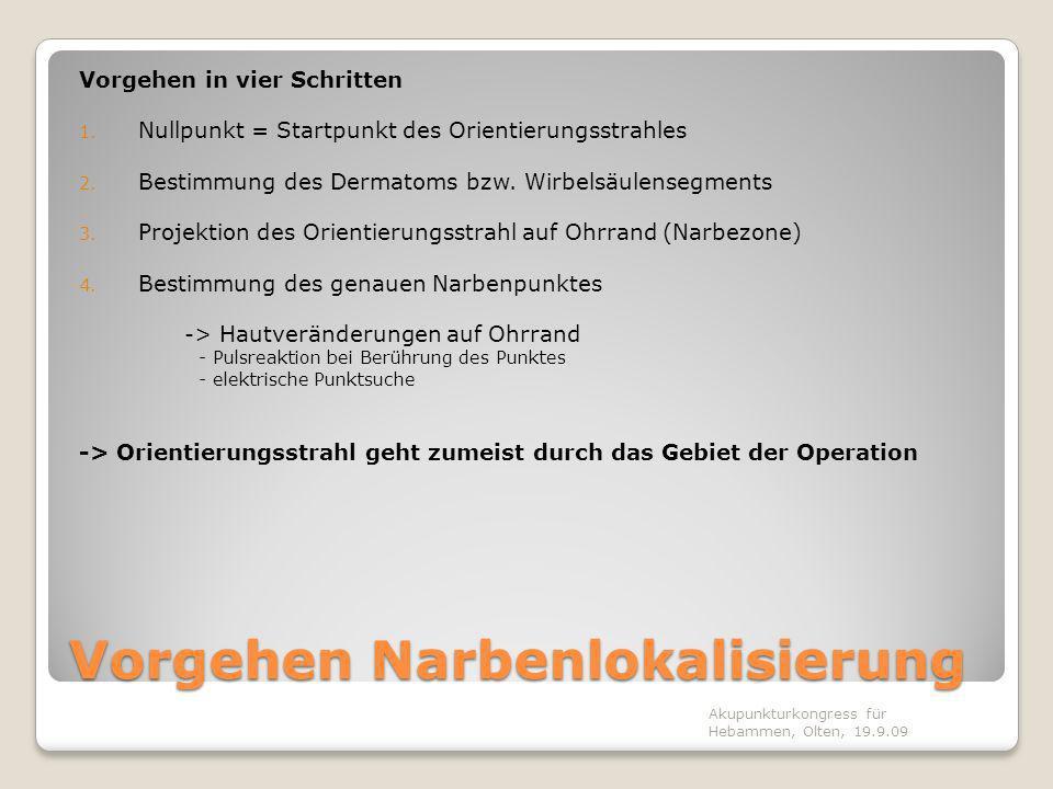 Vorgehen Narbenlokalisierung Vorgehen in vier Schritten 1. Nullpunkt = Startpunkt des Orientierungsstrahles 2. Bestimmung des Dermatoms bzw. Wirbelsäu