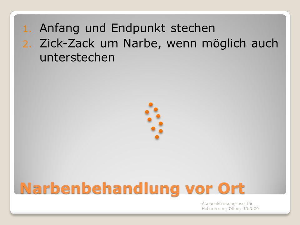 Narbenbehandlung vor Ort 1. Anfang und Endpunkt stechen 2. Zick-Zack um Narbe, wenn möglich auch unterstechen Akupunkturkongress für Hebammen, Olten,