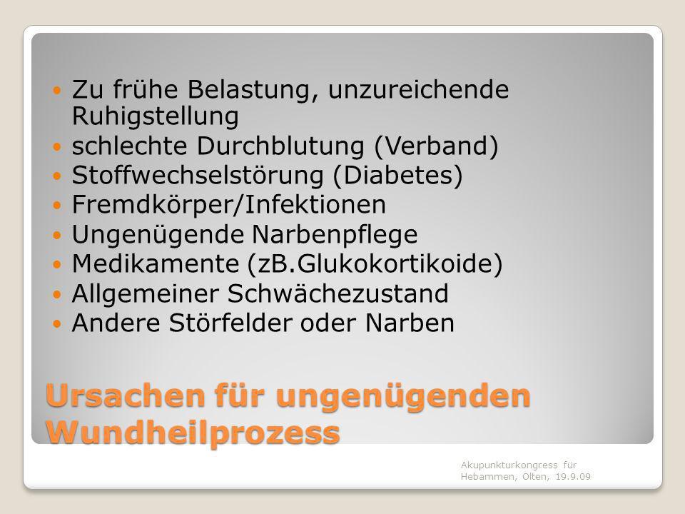 Ursachen für ungenügenden Wundheilprozess Zu frühe Belastung, unzureichende Ruhigstellung schlechte Durchblutung (Verband) Stoffwechselstörung (Diabet