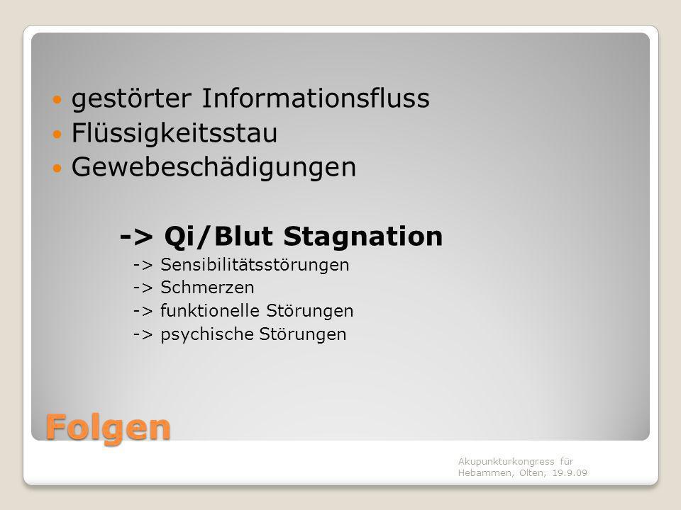 Folgen gestörter Informationsfluss Flüssigkeitsstau Gewebeschädigungen -> Qi/Blut Stagnation -> Sensibilitätsstörungen -> Schmerzen -> funktionelle St