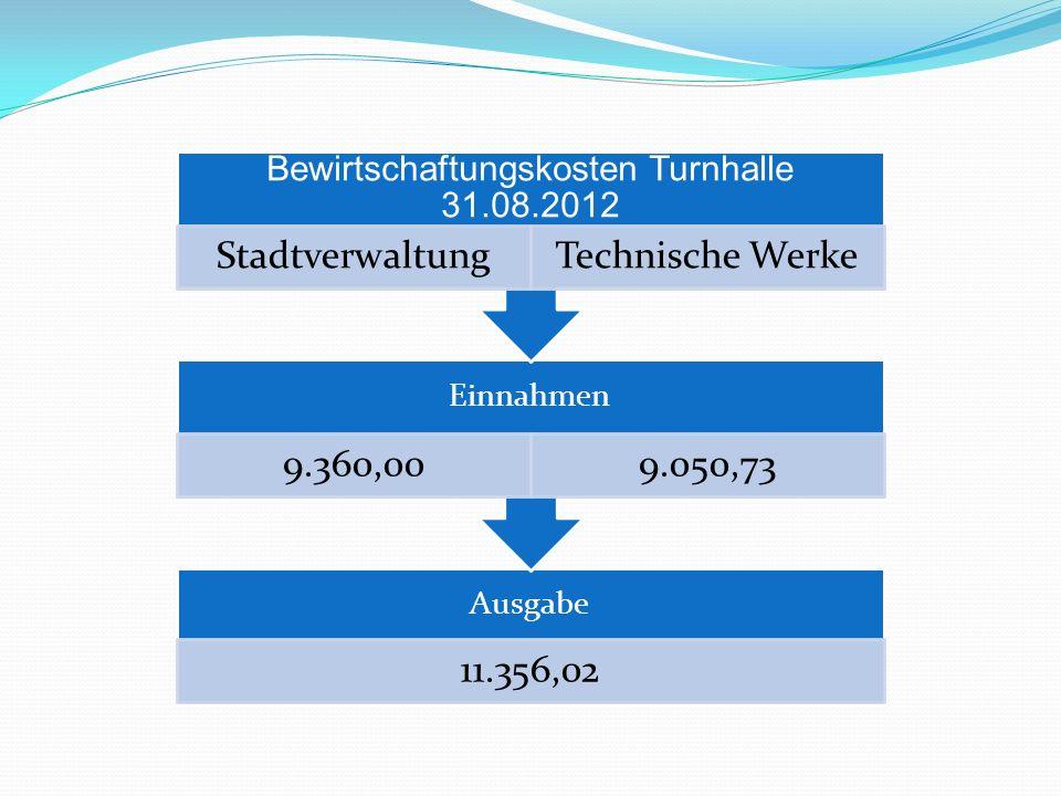 Ausgabe 11.356,02 Einnahmen 9.360,009.050,73 Bewirtschaftungskosten Turnhalle 31.08.2012 StadtverwaltungTechnische Werke