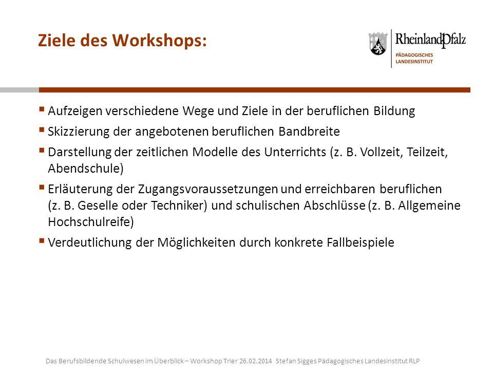 Ziele des Workshops: Aufzeigen verschiedene Wege und Ziele in der beruflichen Bildung Skizzierung der angebotenen beruflichen Bandbreite Darstellung d