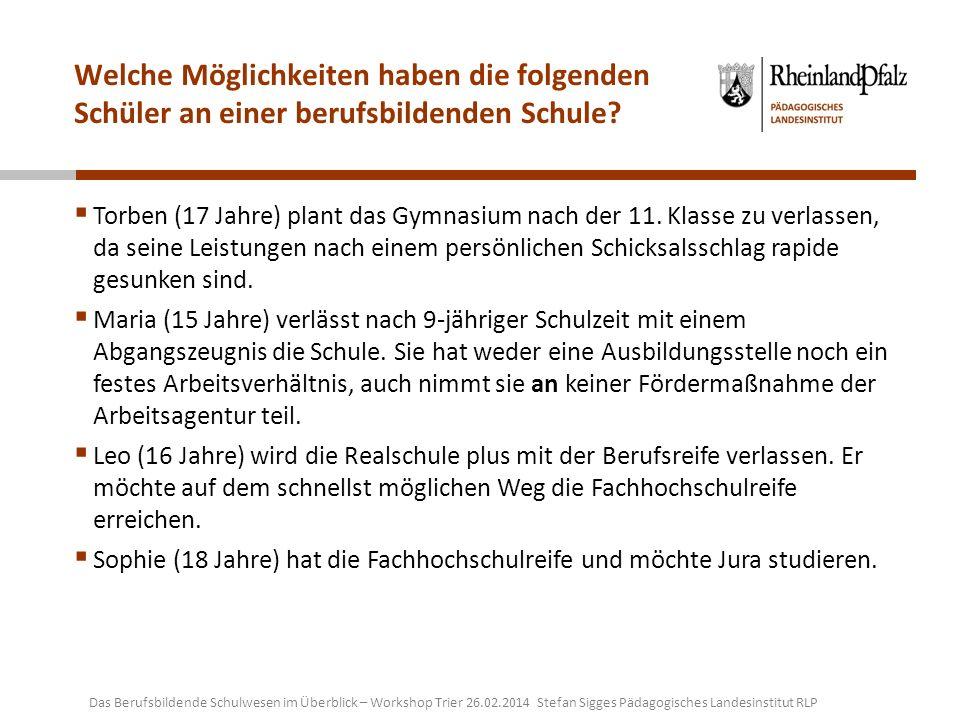 Weitere Materialien und Quellen: Praxishandbuch zur Berufsorientierung http://www.trier.de/File/Praxishandbuch-zur-Berufsorientierung-pdf/ http://www.trier.de/File/Praxishandbuch-zur-Berufsorientierung-pdf/ Broschüre Nach vorne führen viele Wege http://www.vielewege.rlp.de Broschüre in gedruckter Form anfordern: Infomaterial@mwkel.rlp.de http://www.vielewege.rlp.deInfomaterial@mwkel.rlp.de Schulformen in der beruflichen Bildung http://berufsbildendeschule.bildung-rp.de/schulformen.html http://berufsbildendeschule.bildung-rp.de/schulformen.html Lehrpläne (RLP) http://bbs.bildung-rp.de/lehrplaene.html http://bbs.bildung-rp.de/lehrplaene.html Grafik Bildungswege an der BBS in Anlehnung an http://www.bbs1-mainz.de/bildungsgaenge.html http://www.bbs1-mainz.de/bildungsgaenge.html Das Berufsbildende Schulwesen im Überblick – Workshop Trier 26.02.2014 Stefan Sigges Pädagogisches Landesinstitut RLP