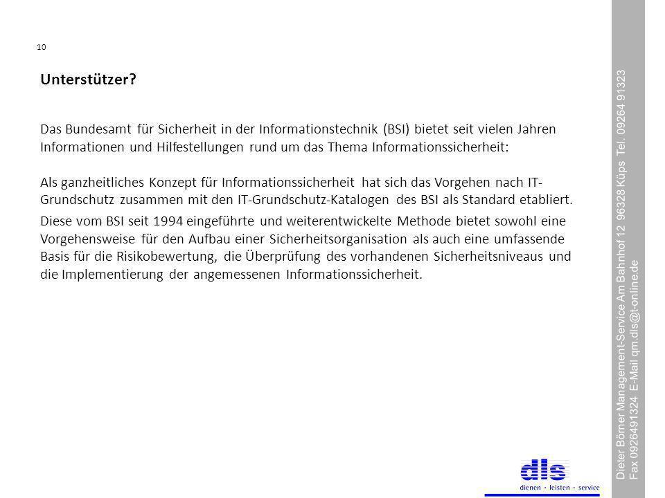 10 Dieter Börner Management-Service Am Bahnhof 12 96328 Küps Tel.