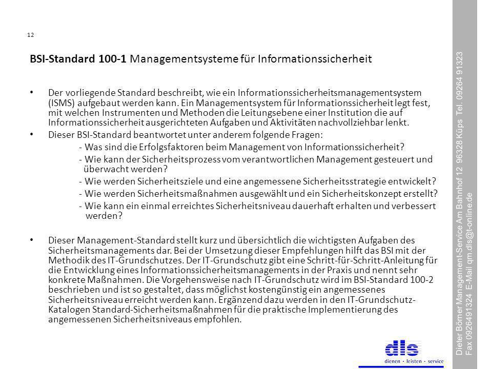 12 Dieter Börner Management-Service Am Bahnhof 12 96328 Küps Tel.
