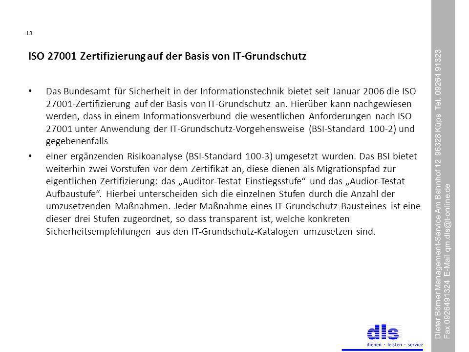 13 Dieter Börner Management-Service Am Bahnhof 12 96328 Küps Tel.
