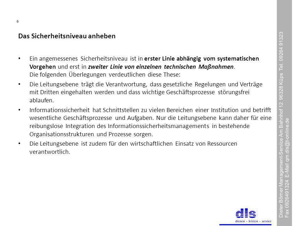 6 Dieter Börner Management-Service Am Bahnhof 12 96328 Küps Tel.