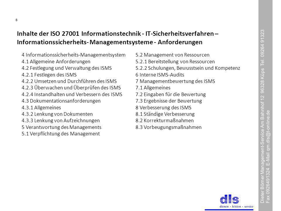 8 Dieter Börner Management-Service Am Bahnhof 12 96328 Küps Tel.