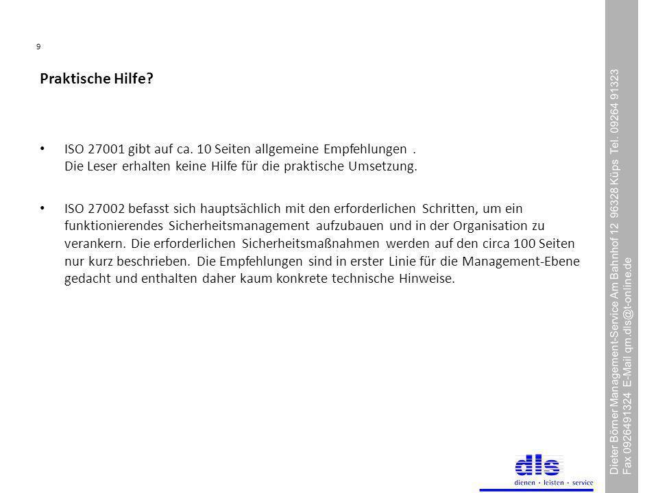 9 Dieter Börner Management-Service Am Bahnhof 12 96328 Küps Tel.