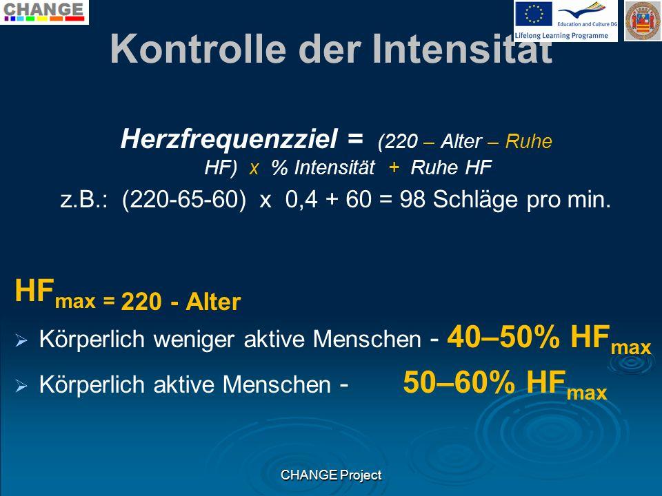 Kontrolle der Intensität Herzfrequenzziel = (220 – Alter – Ruhe HF) x % Intensität + Ruhe HF z.B.: (220-65-60) x 0,4 + 60 = 98 Schläge pro min. HF max