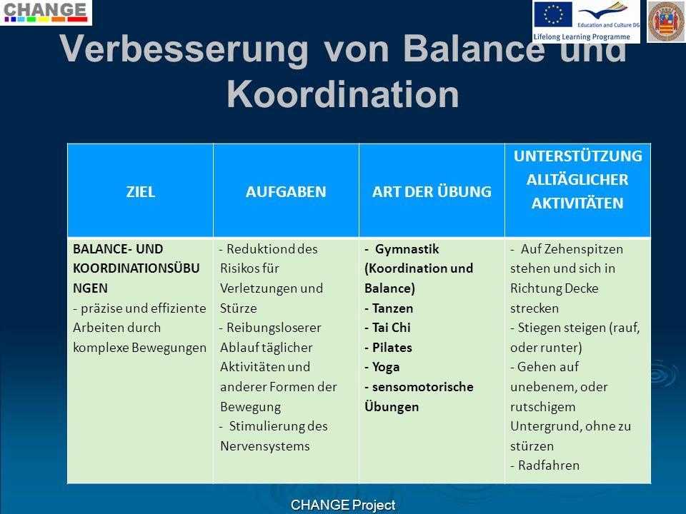 Verbesserung von Balance und Koordination ZIELAUFGABENART DER ÜBUNG UNTERSTÜTZUNG ALLTÄGLICHER AKTIVITÄTEN BALANCE- UND KOORDINATIONSÜBU NGEN - präzis