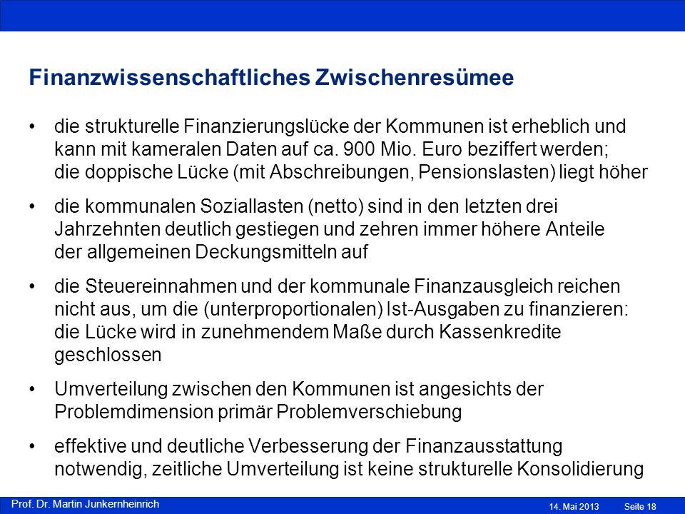 Prof. Dr. Martin Junkernheinrich Finanzwissenschaftliches Zwischenresümee die strukturelle Finanzierungslücke der Kommunen ist erheblich und kann mit