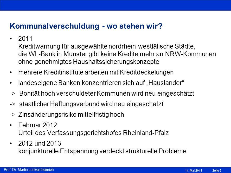 Prof. Dr. Martin Junkernheinrich Kommunalverschuldung - wo stehen wir? 2011 Kreditwarnung für ausgewählte nordrhein-westfälische Städte, die WL-Bank i