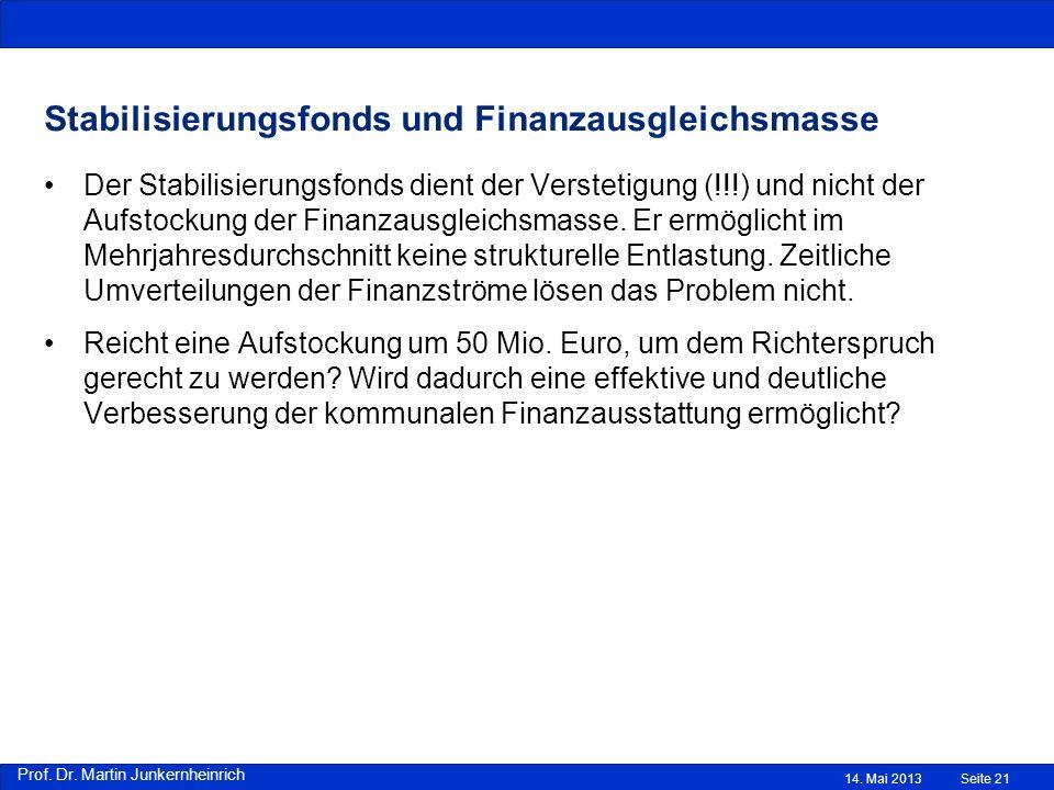 Prof. Dr. Martin Junkernheinrich Stabilisierungsfonds und Finanzausgleichsmasse Der Stabilisierungsfonds dient der Verstetigung (!!!) und nicht der Au