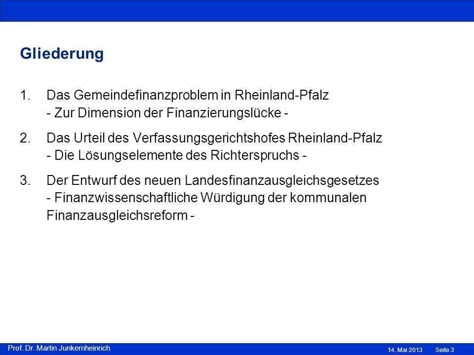Prof. Dr. Martin Junkernheinrich Gliederung 1.Das Gemeindefinanzproblem in Rheinland-Pfalz - Zur Dimension der Finanzierungslücke - 2.Das Urteil des V