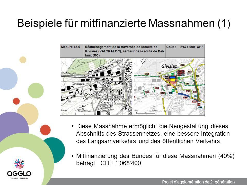 Projet dagglomération de 2 e génération Beispiele für mitfinanzierte Massnahmen (1 ) Diese Massnahme ermöglicht die Neugestaltung dieses Abschnitts des Strassennetzes, eine bessere Integration des Langsamverkehrs und des öffentlichen Verkehrs.