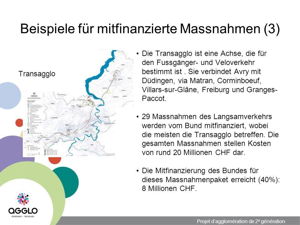 Projet dagglomération de 2 e génération Beispiele für mitfinanzierte Massnahmen (3) Transagglo Die Transagglo ist eine Achse, die für den Fussgänger- und Veloverkehr bestimmt ist.