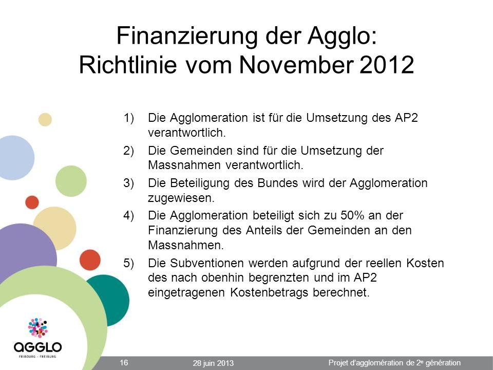 Finanzierung der Agglo: Richtlinie vom November 2012 1)Die Agglomeration ist für die Umsetzung des AP2 verantwortlich. 2)Die Gemeinden sind für die Um