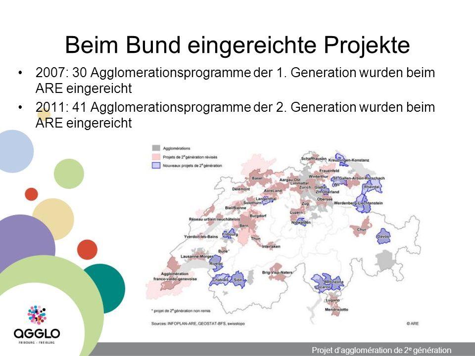 Projet dagglomération de 2 e génération Beim Bund eingereichte Projekte 2007: 30 Agglomerationsprogramme der 1.