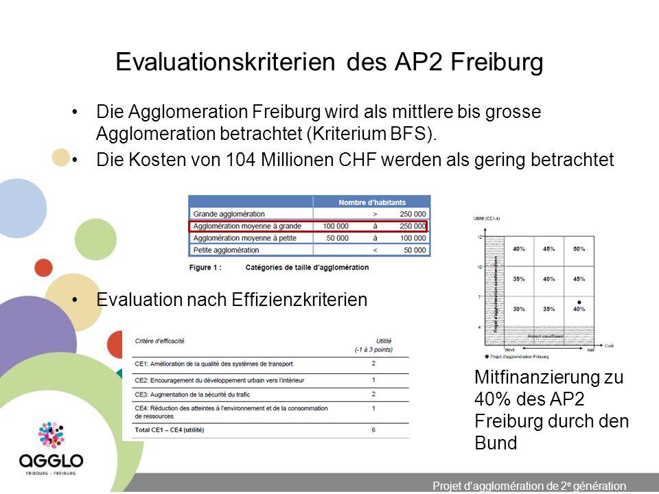 Projet dagglomération de 2 e génération Evaluationskriterien des AP2 Freiburg Die Agglomeration Freiburg wird als mittlere bis grosse Agglomeration betrachtet (Kriterium BFS).